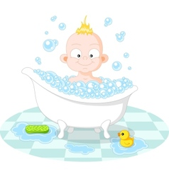 Happy smiling boy in the bath vector