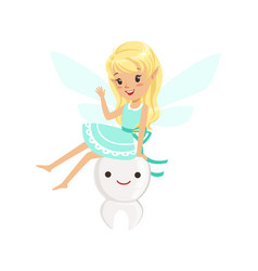Beautiful sweet blonde tooth fairy girl sitting on vector