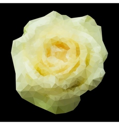 Abstract geometric polygonal white rose vector