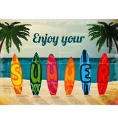 Summer vacation surfboard poster vector