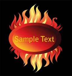 Banner fire flame on a black background vector