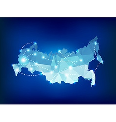 Russia country map polygonal with spot lights plac vector