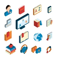 Translation and dictionary icons set vector
