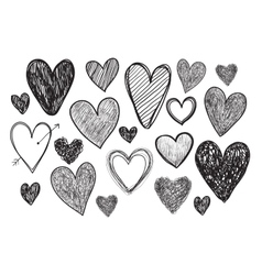 Set of hand drawn doodle hearts vector