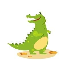 Cartoon crocodile looking up flat style vector