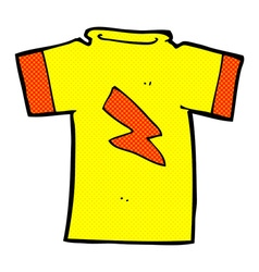 Comic cartoon t shirt with lightning bolt vector