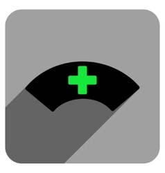 Medical visor flat square icon with long shadow vector
