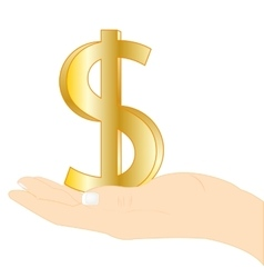 Sign dollar in palm vector