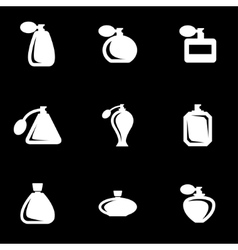 White perfume icon set vector