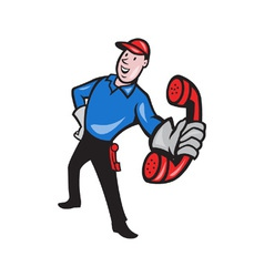 Telephone repairman worker phone vector