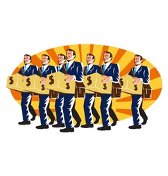 Businessman banker worker carry money box retro vector
