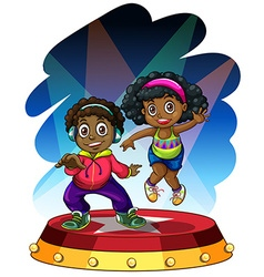 African american boy and girl dancing vector