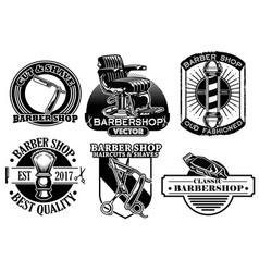 barbershop badge design set vector image vector image