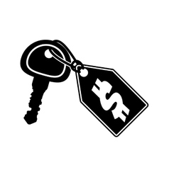 Black silhouette key and price tag vector