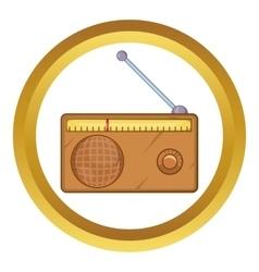 Brown retro style radio receiver icon vector