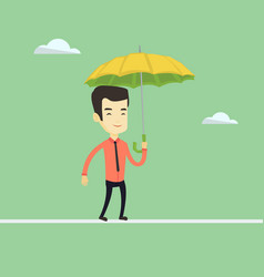 business man balancing on a tightrope vector image