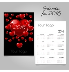 Calendar 2016 with red hearts vector image