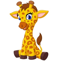 Cartoon baby giraffe sitting vector image