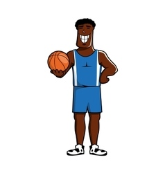 Cartoon dark basketball player with ball vector image