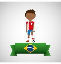 cartoon football player brazilian label vector image