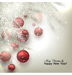 Christmas background with balls Red Xmas baubles vector image vector image