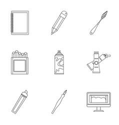 designer workspace icons set outline style vector image