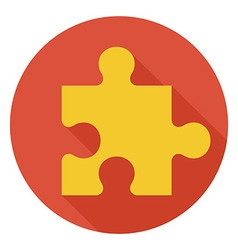 Flat game puzzle circle icon with long shadow vector