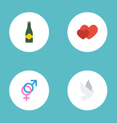 Flat icons love sexuality symbol fizz and other vector