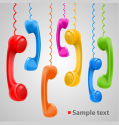 hanging colored handsets vector image vector image