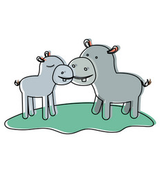 Hippopotamus couple over grass in watercolor vector