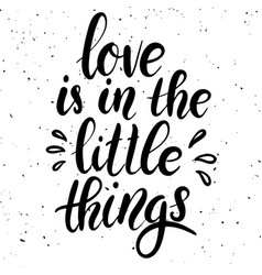 Love is in the little things hand drawn lettering vector