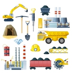 Mining Industry Icon Set vector image vector image