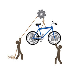 People with pulleys hanging the bicycle vector