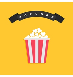 Popcorn Big round wave black ribbon line with text vector image