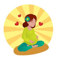 Pregnant girl meditation vector