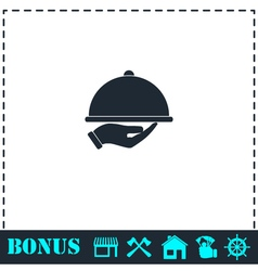 Restaurant cloche in hand icon flat vector
