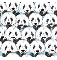 seamless pattern with panda faces vector image vector image