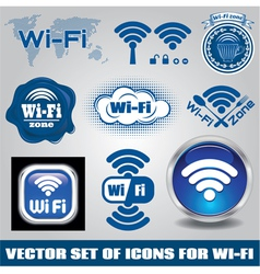 set of different icons for technology wifi vector image vector image