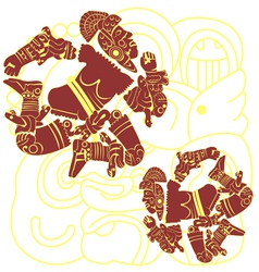 Set of mayan warriors vector