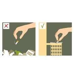 Set with hand throwing cigarette stub vector