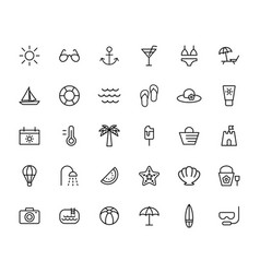 Summer travel holiday and beach icons set on vector