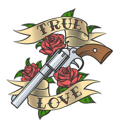 Tattoo with revolver and roses vector
