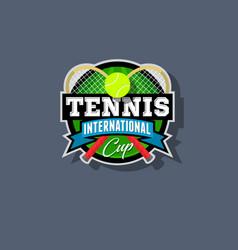 tennis emblem or logo vector image