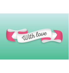 trendy retro ribbon with text with love colorful vector image