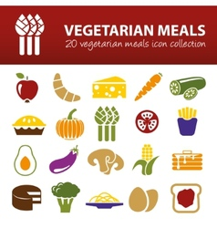 Vegetarian meals icons vector