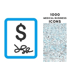 Invoice Page Icon with 1000 Medical Business Icons vector image