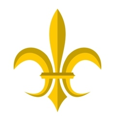 Gold royal lily icon flat style vector