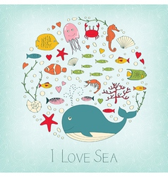 Cute marine life vector