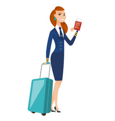 Stewardess showing passport and airplane ticket vector