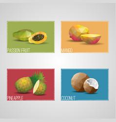 Tropical organic fruits cards vector